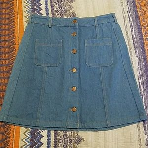 Medium Button Up High Waisted Denim Skirt